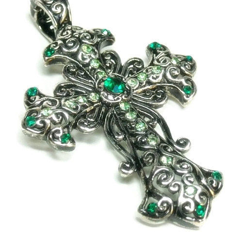 Magnetic Green Crystal Cross Pendant - product images  of