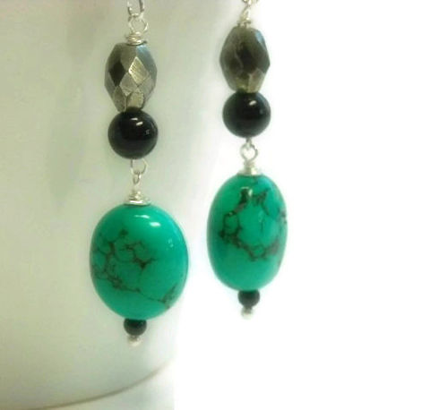 Turquoise,Earrings,-,Genuine,Dangle,Hubei,Beaded,December,Birthstone,Jewelry,Turquoise_Earrings,Turquoise_Jewelry,Hubei_Turquoise,Real_Turquoise,Genuine_Turquoise,December_Birthstone,Blue_Black,Smooth_Nuggets,Turquoise_Nugget,Gifts_For_Her,Gemstone,black_friday_cyber_m,18mm hubei turquoise nuggets,10mm face