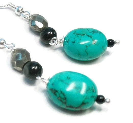 Turquoise Earrings - Genuine Turquoise Dangle Earrings - Hubei Turquoise Beaded Earrings - December Birthstone - product images  of