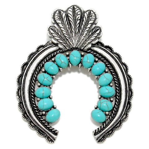 Indian,Feather,Magnetic,Pendant,Indian Feather Clip On Magnetic Pendant with Turquoise Cabochons - Clip On Interchangeable Magnetic Pendant - Turquoise Magnetic Pendant - Cowgirl Pendant - Removable - Southwest Pendant - Magnet Closure