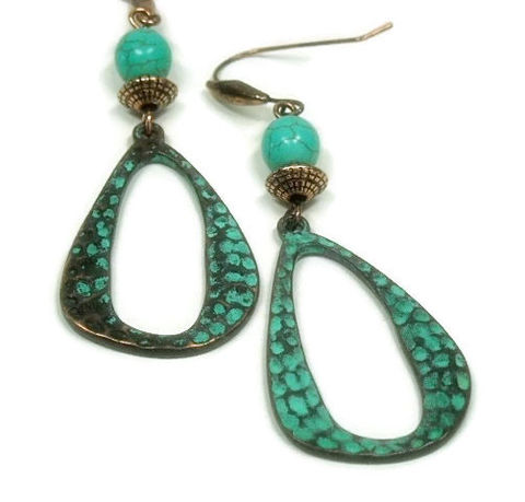 Turquoise,Teardrop,Earrings,-,Bohemian,Copper,Patina,Rustic,Art,Deco,Hippie,Dangle,Jewelry,Boho,turquoise_earrings,turquoise_jewelry,copper_patina,verdigris_patina,rustic_southwest,art_deco_jewelry,teardrop_earrings,dangle_earrings,bohemian_earrings,bohemian_jewelry,hippie_gypsy_boho,copper_earrings,jewelry_trends,patina,decorative