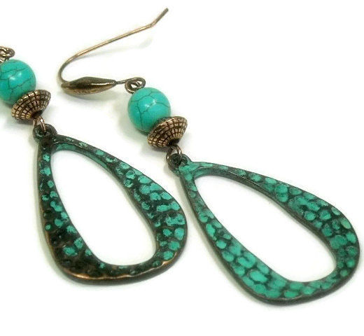 Turquoise Teardrop Earrings - Bohemian Copper Patina Earrings - Rustic - Art Deco - Hippie - Teardrop Dangle - Turquoise Jewelry - Boho - product images  of