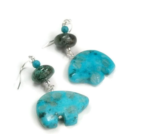 Spirit,Bear,Earrings,-,Zuni,Turquoise,Southwest,Cowgirl,Folklore,Kawaii,Kiwi,Jasper,Jewelry,Bear_Earrings,Spirit_Bear,Southwest_Earrings,Dangle_Earrings,Cowgirl_Earrings,Native_American,Indian_Folklore,Animal_Earrings,Zuni_Bear,Kiwi_Jasper,Opal_Jasper,black_friday_cyber_m,silver plated shepherds hooks,18mm kiwi jasper