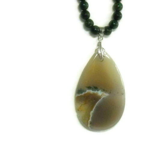 Picture Agate Necklace - Green Opal Jasper - Gold Coral - Natural - Art -One of a Kind OOAK - Inspirational Robert Frost - Gemstone Necklace - product images  of