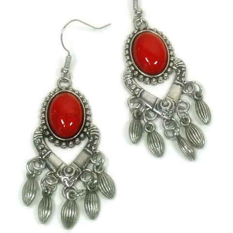 Bohemian Jewelry, Boho Chic Earrings, Red Coral, Long Dangle, Southwest, Gypsy, Hippie, Cowgirl, Chandelier Earrings, Western, Red Earrings - product images  of