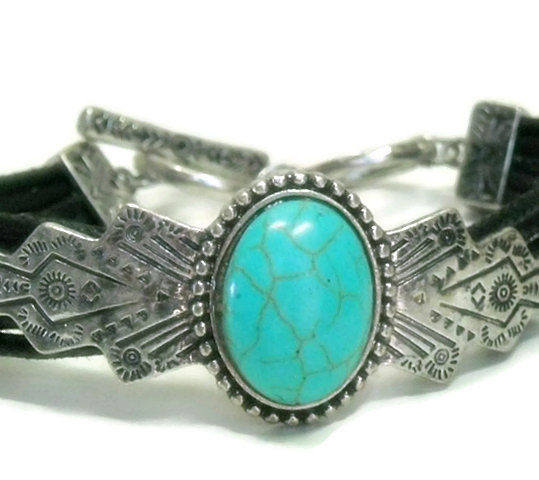 Turquoise Bracelet - Stackable - Adjustable Bracelet - Southwest Style Bracelet - Native Stamped Bracelet - Black Corded Multi Row Bracelet - product images  of