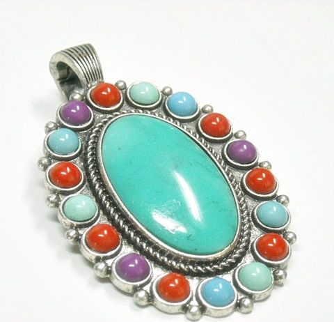 Turquoise,Oval,Magnetic,Pendant,Turquoise Magnetic Pendant - Interchangeable Magnetic Oval Magnetic Pendant with Turquoise and Multicolor Stones - Turquoise Oval Magnetic Pendant - Clip On - Interchangeable Magnetic Pendant - Multicolor - Cowgirl Pendant - Southwest - Boho - Removable