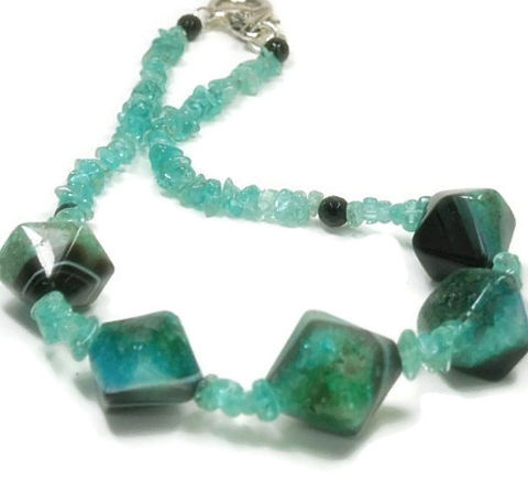 Apatite,and,Banded,Agate,Necklace,-,Teal,,Black,Gemstone,Diamond,Focal,Beads,Ocean,Blue,Natural,Jewelry,apatite_necklace,apatite_jewelry,banded_agate_stones,agate_necklace,ocean_blue,black_onyx,gemstone_necklace,handmade,organic_stones,brazilian,aqua_blue_teal,geometric,black_friday_cyber_m,apatite chips,banded agate diamond beads,black fac