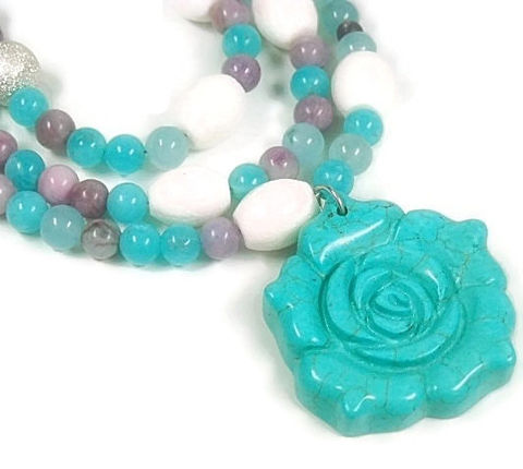 Layered,Mixed,Gemstone,Necklace,,Turquoise,Rose,Pendant,,Multistrand,,Lavender,,Aqua,Blue,,Boho,,Triple,Strand,,Turquoise,,Three,Tier,Jewelry,Necklace,gemstone_necklace,mixed_gemstones,layered_necklace,rose_pendant,purple_and_aqua,turquoise_rose,hippie,boho_bohemian,multistrand,adjustable,triple_strand,gemstone_jewelry,black_friday_cyber_m,silver plated copper beads,french crimp,beading