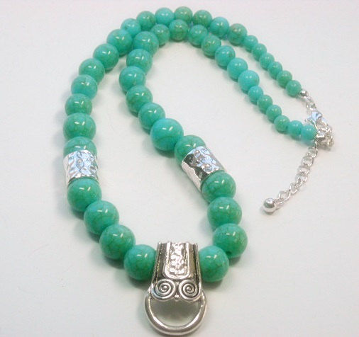 Turquoise Beaded Chain Pendant Holder - product images  of