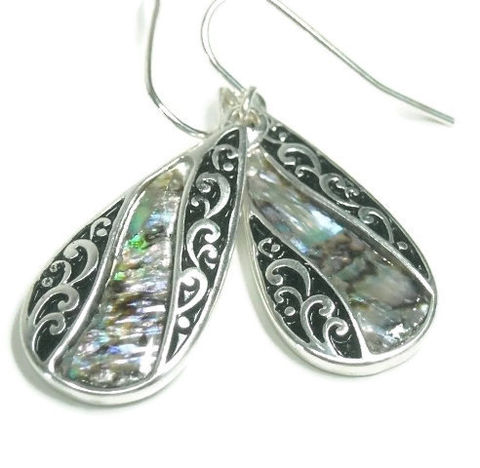 Abalone,Teardrop,Earrings,,Dangle,Filigree,Oval,Drop,Earrings,with,Abalone,,Scroll,,Shell,Beach,,Ocean,,Sea,Jewelry,abalone_earrings,teardrop_earrings,dangle_earrings,drop_earrings,abalone_jewelry,shell_earrings,ocean,sea,beach,scroll_filigree,abalone,boho,black_friday_cyber_m,silver plated fish hooks,teardrop charms