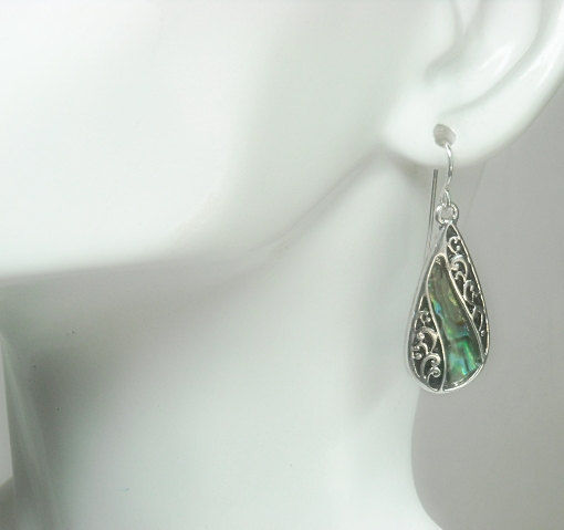Abalone Teardrop Earrings, Dangle Earrings, Filigree Oval Drop Earrings with Abalone, Scroll, Shell Earrings, Beach, Ocean, Sea - product images  of
