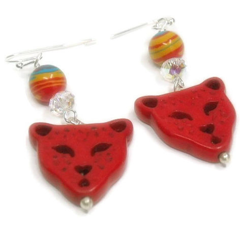 Jaguar,Earrings,,Red,Gemstone,Dangle,Fordite,,Native,Symbolic,Animal,,Southwest,,Boho,,Animal,Cat,,Jungle,Jewelry,Earrings,jaguar_earrings,jaguar_jewelry,fordite,dangle_earrings,native_southwest,symbolic_animal,feline_cat,nature,animal_jewelry,animal_earrings,gemstone_jaguar,unique_gift,red_gemstone,20mm magnesite jaguar,swarovski crystal roundel,9mm fordite