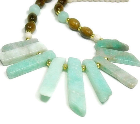 Amazonite,Necklace,-,Natural,rough,raw,stick,necklace,Mint,green,stone,Rustic,gemstone,jewelry,Boho,Tribal,Statement,Jewelry,amazonite_jewelry,amazonite_sticks,raw_amazonite,pastel_blue_green,graduating_sticks,natural_jewelry,mint_amazonite,statement_necklace,natural_gemstones,tribal_boho_rustic,mint_white_taupe,black_friday_cyber_m,french crimps,jewelers wire