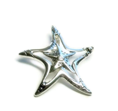 Starfish,Magnetic,Pendant,Starfish Magnetic Pendant, Silver, Clip On, Interchangeable, Etched, Beach, Starfish Pendant, Sea Life, Removable, DIY Necklace, Seashell  jewelry Supplies, beach pendant