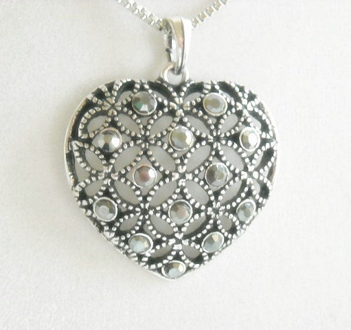 Rhinestone Heart Pendant Necklace - Art Deco Filigree Heart Necklace - Mothers Day - Valentines Day - Minimalist - Gift for Her - Valentine - product images  of