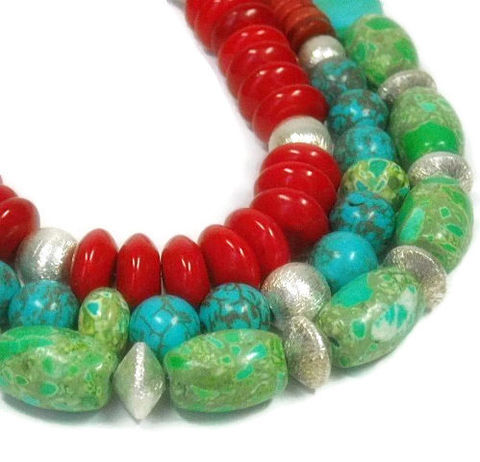 Mixed,Gemstone,Necklace,,Layered,Gemstone,,Multistrand,,Turquoise,,Multi,Strand,Red,,Green,,Chunky,,Boho,Jewelry,,Triple,Jewelry,Necklace,layered_necklace,gemstone_necklace,mixed_gemstones,multistrand_necklace,statement_necklace,triple_necklace,boho_jewelry,chunky_layers,turquoise_necklace,set_of_three,stacked_necklace,southwest_cowgirl,multi_strand,silver plated copper bea