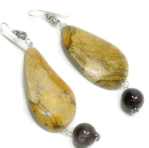 Picture,Jasper,and,Ruby,Earrings,,Genuine,Red,Jewelry,,July,Birthstone,,Gemstone,Dangle,Jewelry,Earrings,genuine_ruby,ruby_jewelry,ruby_earrings,raw_rubies,picture_jasper,jasper_jewelry,precious_gemstone,july_birthstone,dangle_earrings,red_ruby,red_and_beige,jasper_earrings,boho_bohemian,picture jasper twisted flat ovals,12mm genuine ruby ro
