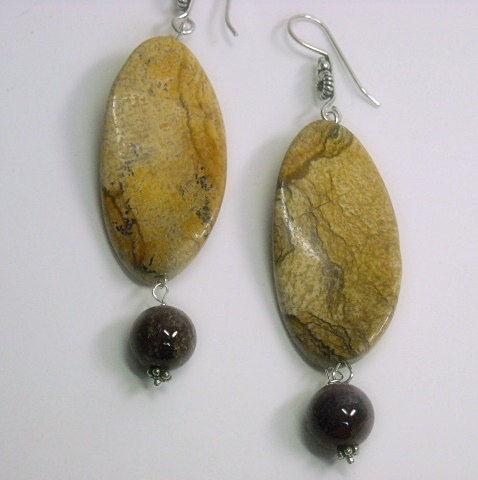 Picture Jasper and Ruby Earrings, Genuine Red Ruby Earrings, Ruby Jewelry, July Birthstone, Picture Jasper Jewelry, Gemstone Jewelry, Dangle - product images  of