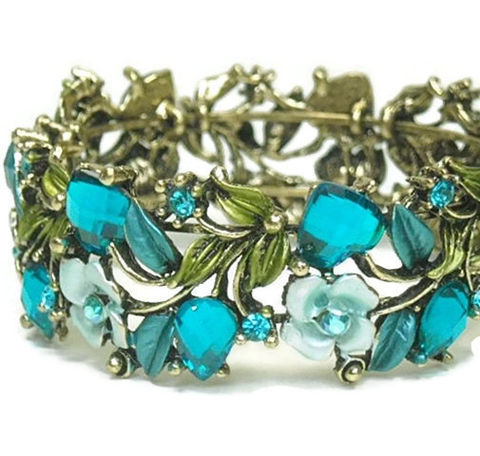 Vintage,1970s,Hinged,Cuff,Bracelet,,Wide,Floral,Rhinestone,Cuff,,Roses,,Leaves,,Crystal,Blue,,Boho,,Bridal,,Flowers,,Mothers,Day,Jewelry,Bracelet,Cuff_Bracelet,Vintage_Cuff,Hinged_Cuff,1970's_Cuff,Jewelled_Cuff,Floral_Cuff,Rhinestone_Bracelet,Valentine_Gift,flowers_roses,blue_and_green,Turquoise_Cuff,Mothers_Day,metal hinged cuff with stones