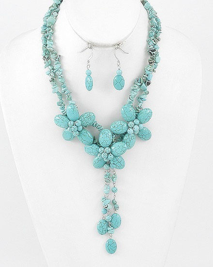 Turquoise Jewelry, Flower Cluster Statement Necklace, Turquoise Necklace Set, Floral Necklace, Bohemian, Hippie, Chunky, Gemstone, Rhodium - product images  of