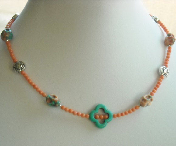 Skull Necklace  - Day of the Dead - Dia de Muertos - Coral Skull Necklace - Skull Jewelry - Coral and Turquoise Skull Necklace - product images  of