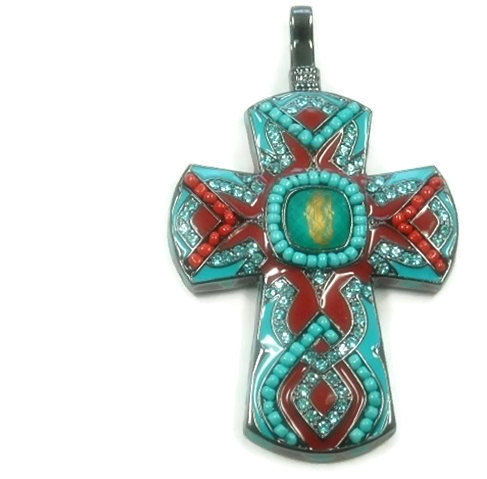 Beaded Turquoise Cross Pendant with Rhinestones - product images  of