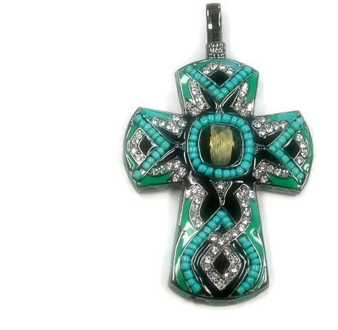 Clip,On,Beaded,Turquoise,Cross,Pendant,Clip On Beaded Turquoise Cross Pendant with Rhinestones, Hook On, Rhinestone Cross, Turquoise, Green, Removable, DIY Necklace, Chunky, Southwest, Jewelry Supplies