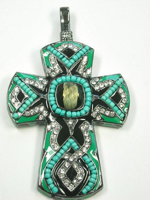 Clip On Beaded Turquoise Cross Pendant - product images  of