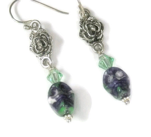 Skull Earrings - Day of the Dead - Skull Jewelry - Dia de Muertos - Purple Mosaic Skull Dangle Earrings - Rocker - Skull with Flower - product images  of