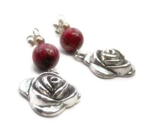 Rose,Earrings,-,Red,Impression,Jasper,Dangle,Post,Flower,Drop,Jewelry,Floral,Gemstone,rose_earrings,red_jasper_earrings,impression_jasper,gemstone_earrings,red_rose_earrings,aqua_terra_jasper,sea_sediment_jasper,post_earrings,dangle_earrings,valentines_day,mothers_day,flower_earrings,black_friday_cyber_m,10mm red impressio
