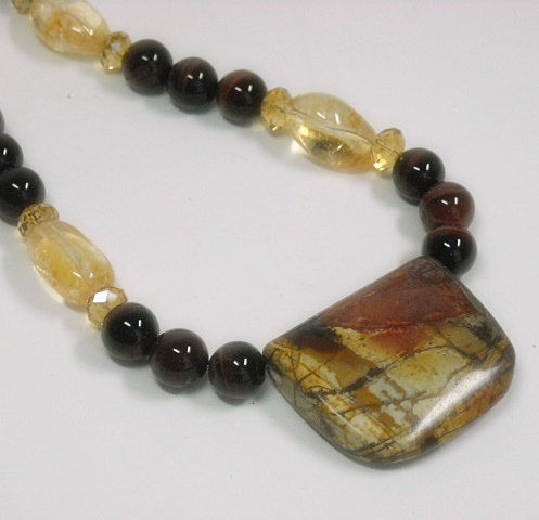 Picasso Jasper Necklace, Red Tigers Eye, Citrine Necklace, November Birthstone, Autumn, Fall, Earthy, Rustic, Chunky, Gemstone Necklace - product images  of