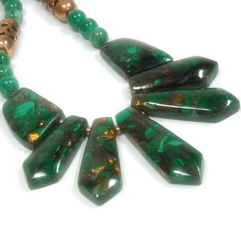 Malachite,Bib,Necklace,-,Collar,Gemstone,Statement,Emerald,Green,Graduating,Slab,Stones,Shimmering,Copper,Jewelry,malachite_necklace,malachite_copper,collar_necklace,bib_necklace,malachite_bib,malachite_collar,statement_necklace,emerald_green,rare_gemstones,gemstone_collar,trending_jewelry,malachite_jewelry,graduating_focal,wire guards,copper lobster