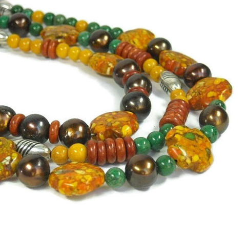 Mixed,Gemstone,Necklace,,Layered,Gemstone,,Multistrand,,Autumn,,Multi,Strand,Fall,,Orange,,Yellow,,Green,,Chunky,,Boho,Jewelry,Necklace,layered_necklace,gemstone_necklace,mixed_gemstones,multistrand_necklace,statement_necklace,orange_yellow_green,autumn_fall,triple_necklace,spicy_mustard,lush_meadow,potters_clay,boho_jewelry,chunky_layers,silver plated copper beads,french