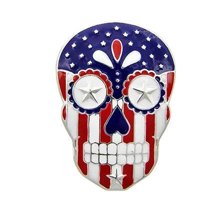 Patriotic,Skull,Magnetic,Pendant,Patriotic Sugar Skull Magnetic Pendant, Clip On  Pendant, Sugar Skull, Flag, Red, White, Blue, Stars, Stripes, July 4th Fourth, DIY Necklace Supplies, removable pendent, american flag, july 4th fourth, red white blue, stars stripes, Halloween, day of the