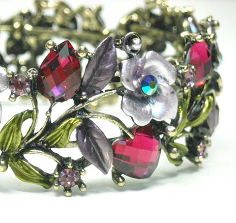 Vintage,1970s,Hinged,Cuff,Bracelet,-,Wide,Fuchsia,Rhinestone,Roses,,Hearts,,Leaves,Valentine,Mothers,Day,Pink,Floral,Flowers,Jewelry,Cuff_Bracelet,Vintage_Cuff,Hinged_Cuff,1970's_Cuff,Jewelled_Cuff,Floral_Cuff,Rhinestone_Bracelet,Valentine_Gift,Hearts_Roses_Leaves,mothers_day,fuchsia_lilac_cuff,metal hinged cuff with stones