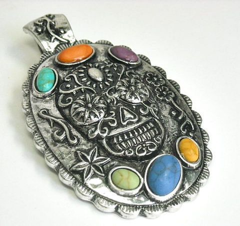 Sugar,Skull,Magnetic,Pendant,Sugar Skull Magnetic Pendant with Multi Color Stone Cabochons, Dia de los Muertos, Day of the Dead, Skull Pendant, Rainbow, Halloween, Calaveras, Clip On Magnetic Pendant, DIY Necklace, Jewelry Supplies, removable pendent, southwest, gemstone s