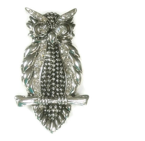 Owl,Clip,On,Pendant,Magnetic Owl Pendant with Crystals, Clip On Pendant, Woodland, Animal, Bird Pendant, Interchangeable, DIY Jewelry Supplies, Silver Owl