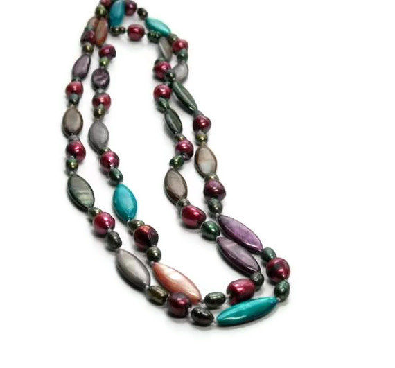 Bohemian Jewelry, Colorful Endless Layering Necklace, Mixed Pearl Shell Infinity Necklace, Summer, Layered Necklace, Random, 48 inch Long - product images  of