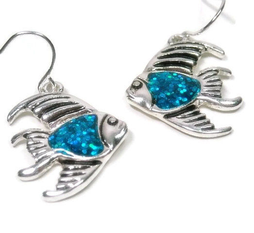 Fish Earrings, Blue Sparkling Tropical Fish Dangle Earrings, Summer, Beach, Sea Life, Ocean Theme Jewelry, Fish Jewelry, Blue Glitter - product images  of