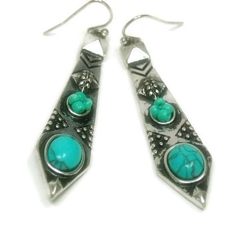 Turquoise,Dangle,Earrings,-,Tribal,with,Cabs,Textured,Silver,Southwest,Boho,Jewelry,Turquoise_Earrings,Turquoise_Jewelry,Boho_Earrings,Bohemian,Southwestern,Boho_Jewelry,Hippie,textured_earrings,tribal_earrings,aztec_earrings,dangle_drop,black_friday_cyber_m,turquoise magnesite cabochons,shepherds hooks,pendulu