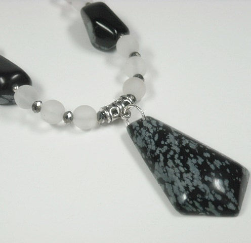 Snowflake Obsidian Necklace, Gemstone Necklace, Frosted Quartz, Black Ice, Winter Jewelry, Beaded Necklace, Chunky, Boho, Southwest, Stones - product images  of