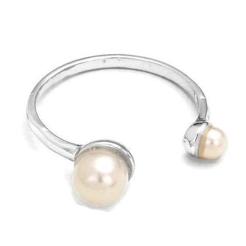 Pearl,Cuff,Ring,Pearl Cuff Ring, open ring, statement, trending fashion rings, adjustable, pearl, rhodium