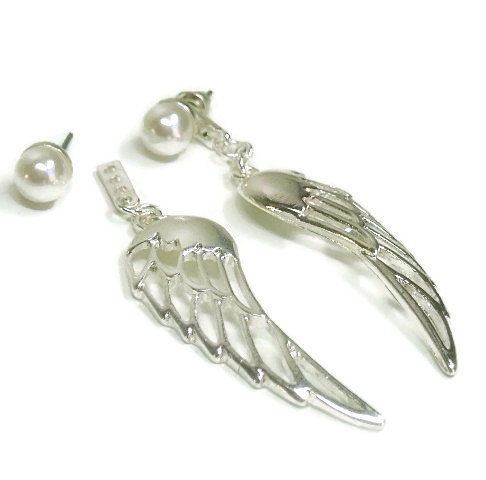 Angel Wings - Wing Earrings - Ear Jacket Earrings - Double Earrings - Front Back Earrings - Post - Ear Jacket - Stud - Drop - Pearl Earrings - product images  of