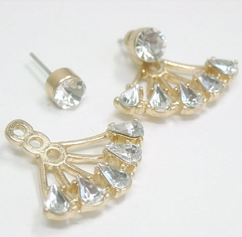 Ear Jacket Earrings - Double Earrings - Front Back Earrings - Post - Rhinestones - Ear Jacket - Stud - Drop - Crystal Earrings - product images  of
