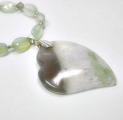 Agate,Heart,Necklace,-,Mint,Green,Gemstone,Jewelry,Pendant,Gift,for,Her, Necklace, gemstone, heart pendant, mint green, chalcedony, agate, valentines day, sterling silver, natural, handmade
