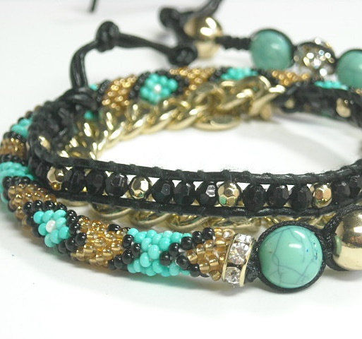 Boho Beaded Wrap Bracelet, Multistrand, Layered, Turquoise, Bohemian Jewelry, Chunky, Layer Wrap Bracelet, Mixed Media, Southwest - product images  of