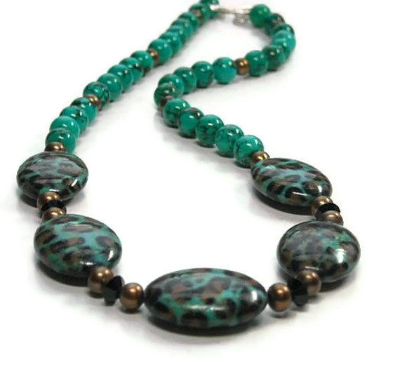 Genuine Turquoise Gemstone Necklace with Leopard Print Beads, Bronze Pearls, Animal Print, Turquoise Jewelry, December Birthstone, Wild, Boho, Nature - product images  of