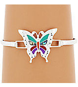 Inlay Butterfly Bracelet - Butterfly Bangle - Southwest Style - Bug - Insect - Symbolic Animal - product images  of