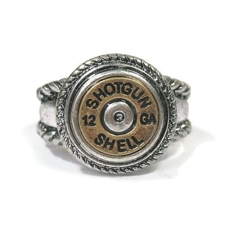 Bullet,Casing,Stretch,Ring,Bullet casing stretch ring, 12 ga Shotgun Shell Bullet Ammo Button Ring, Western ring, Two Tone, Shell Casing Ring